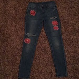 Justice slim jeans, ripped jeans